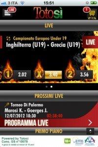 TotoSi - Applicazione per effettuare scommesse sportive live da iphone