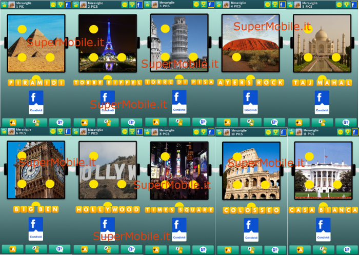 Soluzionei 100 PICS Quiz Meraviglie