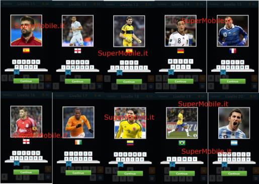 Soluzione Football Quiz Brazil 2014 - Livelli 11-20