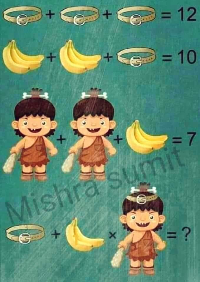 Soluzione gioco matematico cintura banana e uomo primitivo