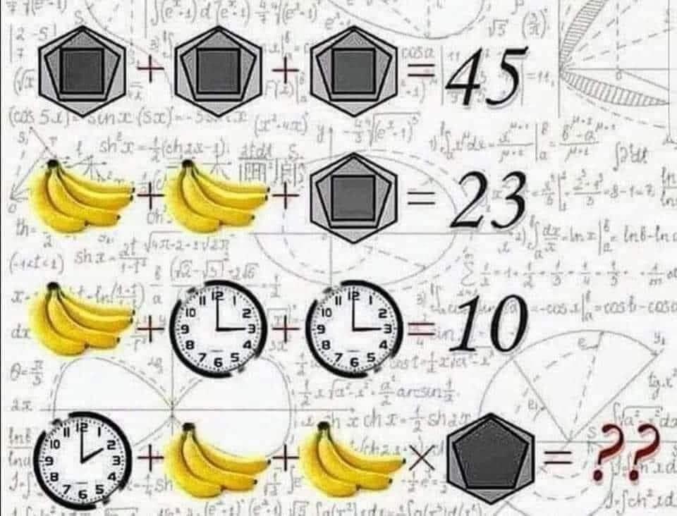 Soluzione gioco matematico con banane orologi ed esagoni