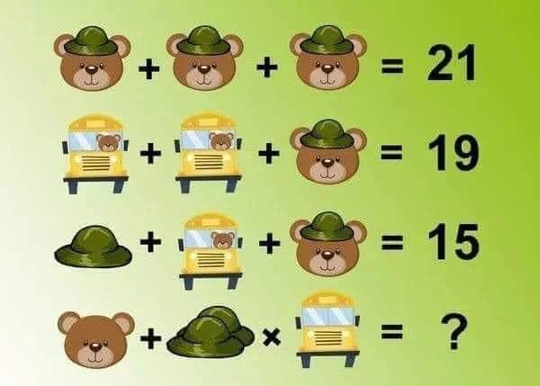 Soluzione gioco matematico con orso cappello e autobus