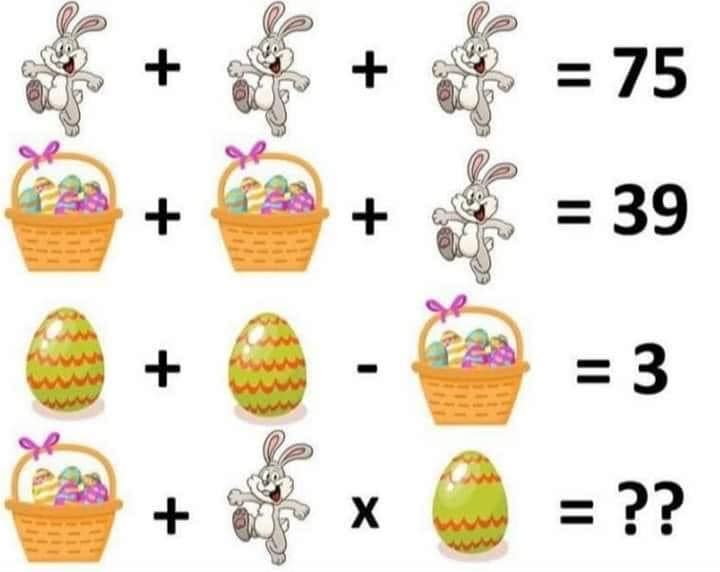 Soluzione gioco matematico coniglio cesto con uova e uova