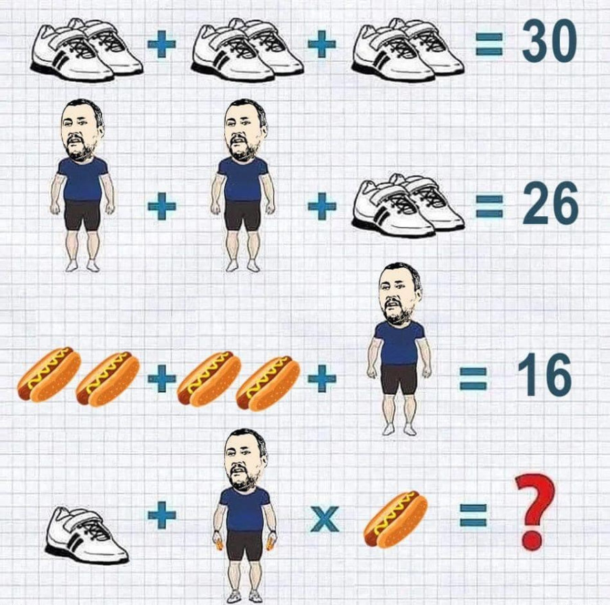Soluzione gioco matematico scarpe ginnastica Salvini Hot Dog